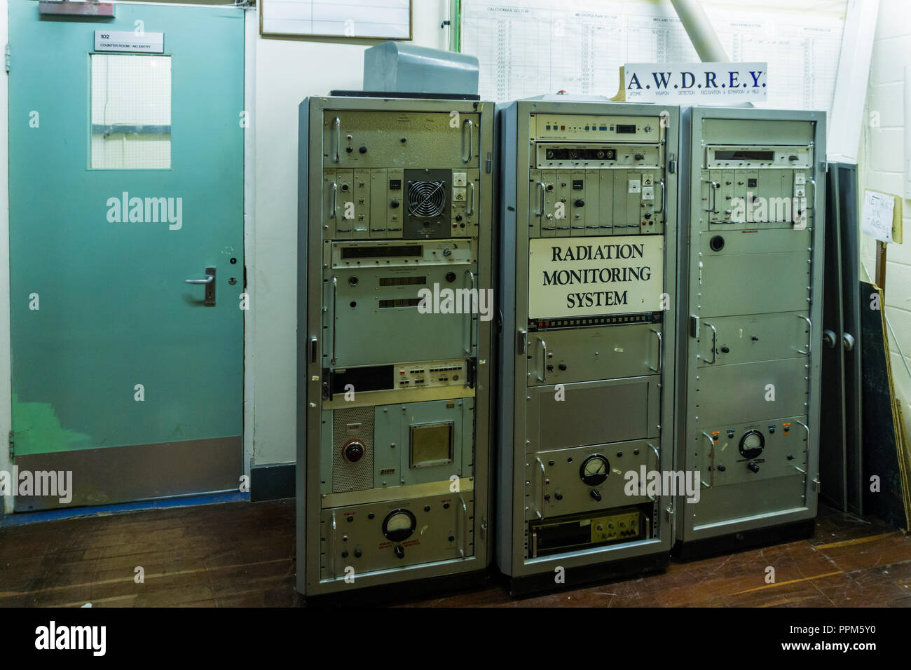 A.W.D.R.E.Y., Atomic Weapons Detection Recognition and Estimation of Yield equipment in a cold war nuclear bunker. - Stock Image