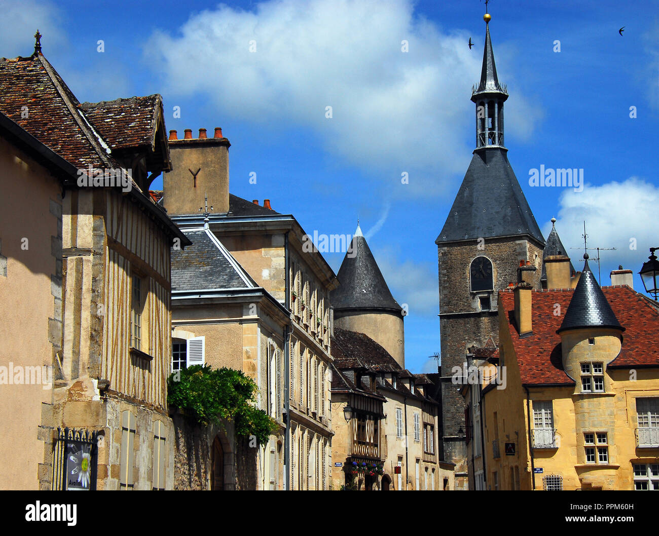 A street in the most ancient and historic part of the charming village of Medieval Avallon in Burgundy. - Stock Image