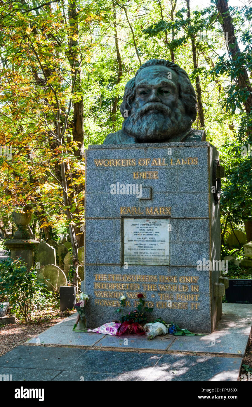 The grave of Karl Marx in Highgate Cemetery, London. - Stock Image