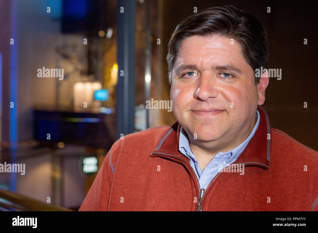 J.B. Pritzker at the Museum of Science and Industry in Chicago, Illinois. - Stock Image