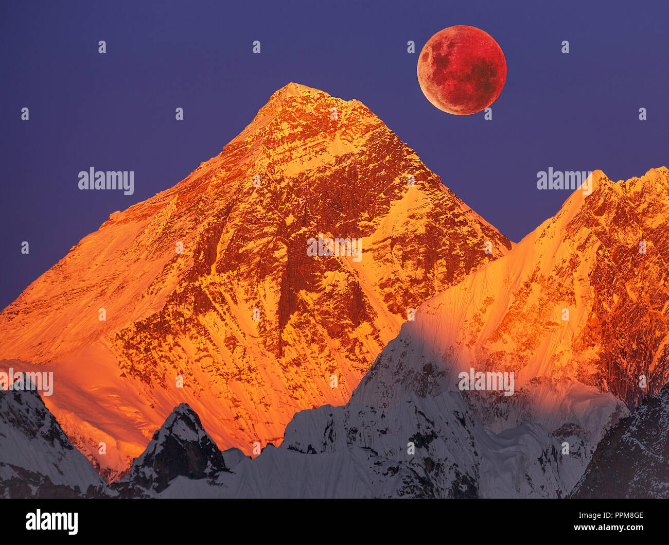 Majesty of nature: golden pyramid of Mount Everest (8,848 m) at sunset on a full moon. - Stock Image