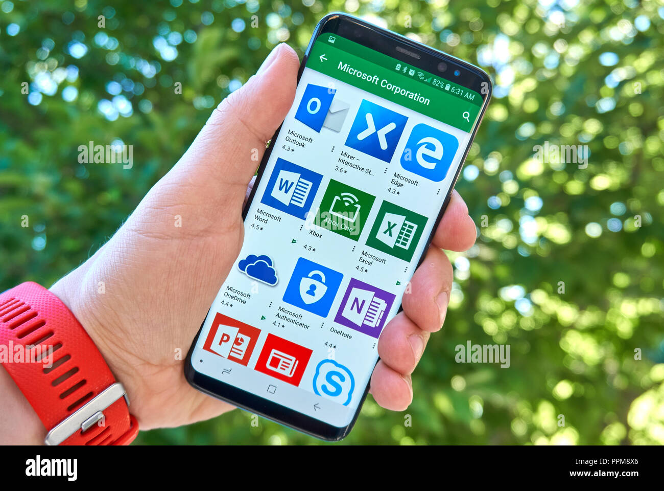 MONTREAL, CANADA - August 28, 2018: Different Microsoft android apps