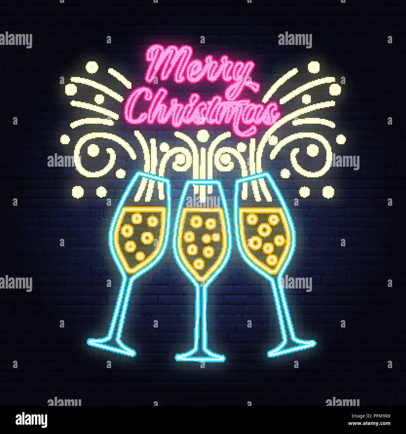 merry christmas banner with champagne glasses neon sign vector