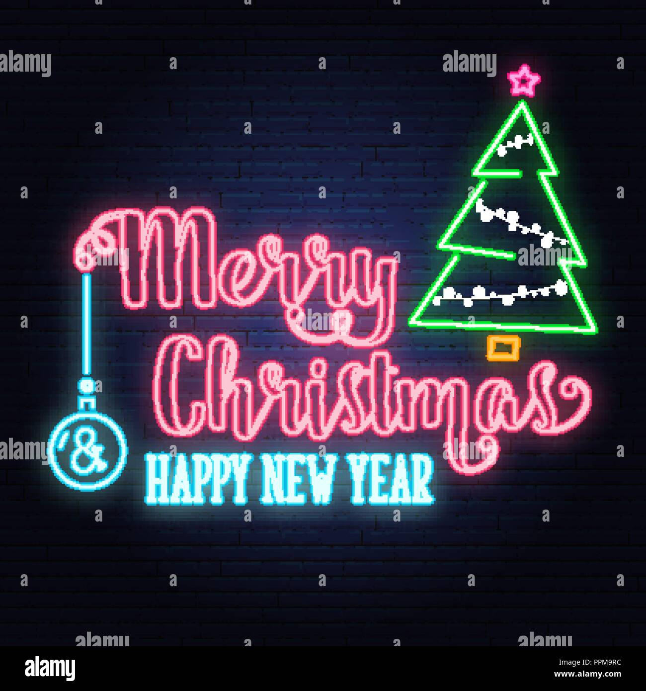 Merry Christmas and Happy New Year neon sign.with Christmas tree ...