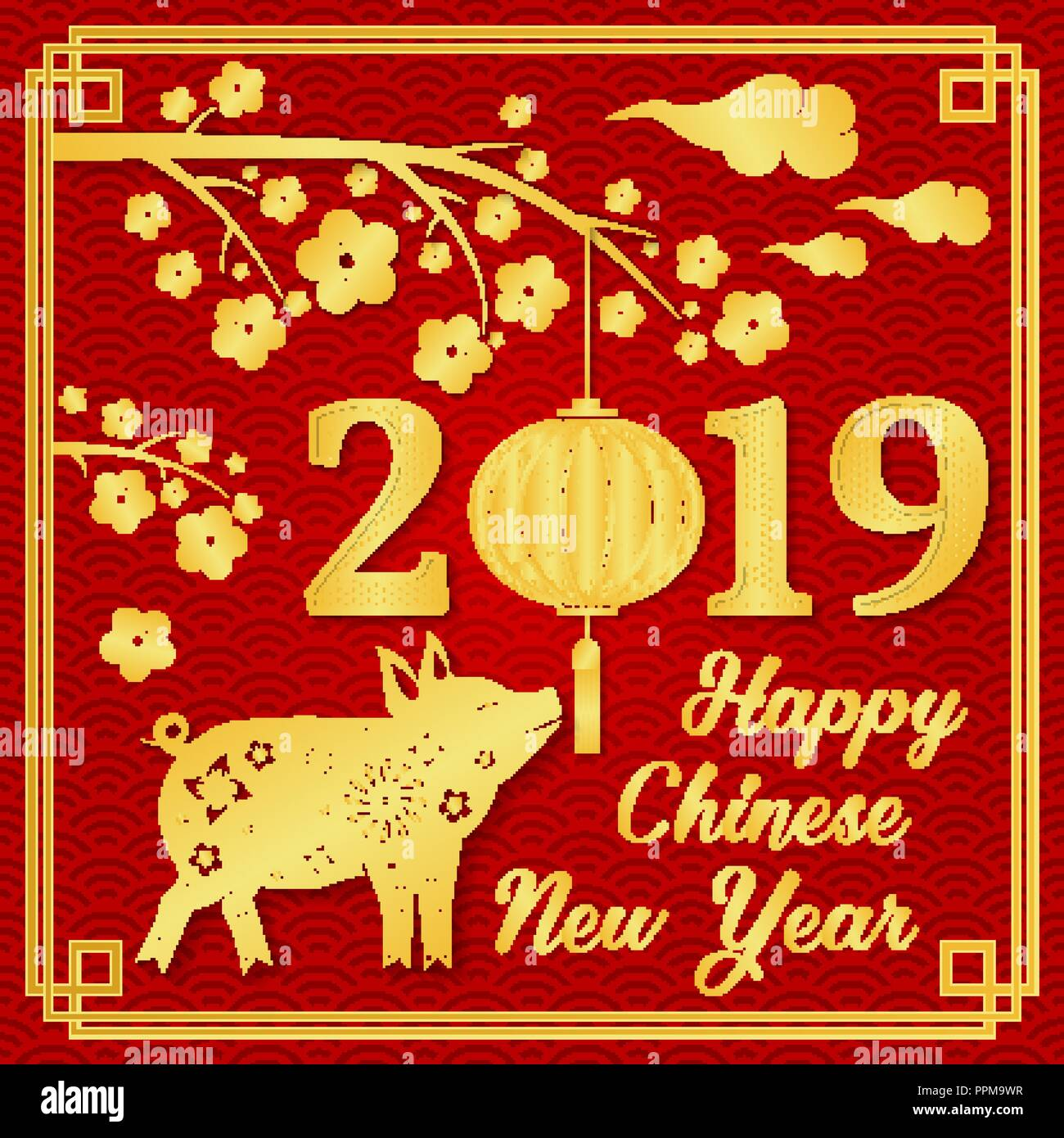 happy chinese new year 2019 typography with gold pig and chinese