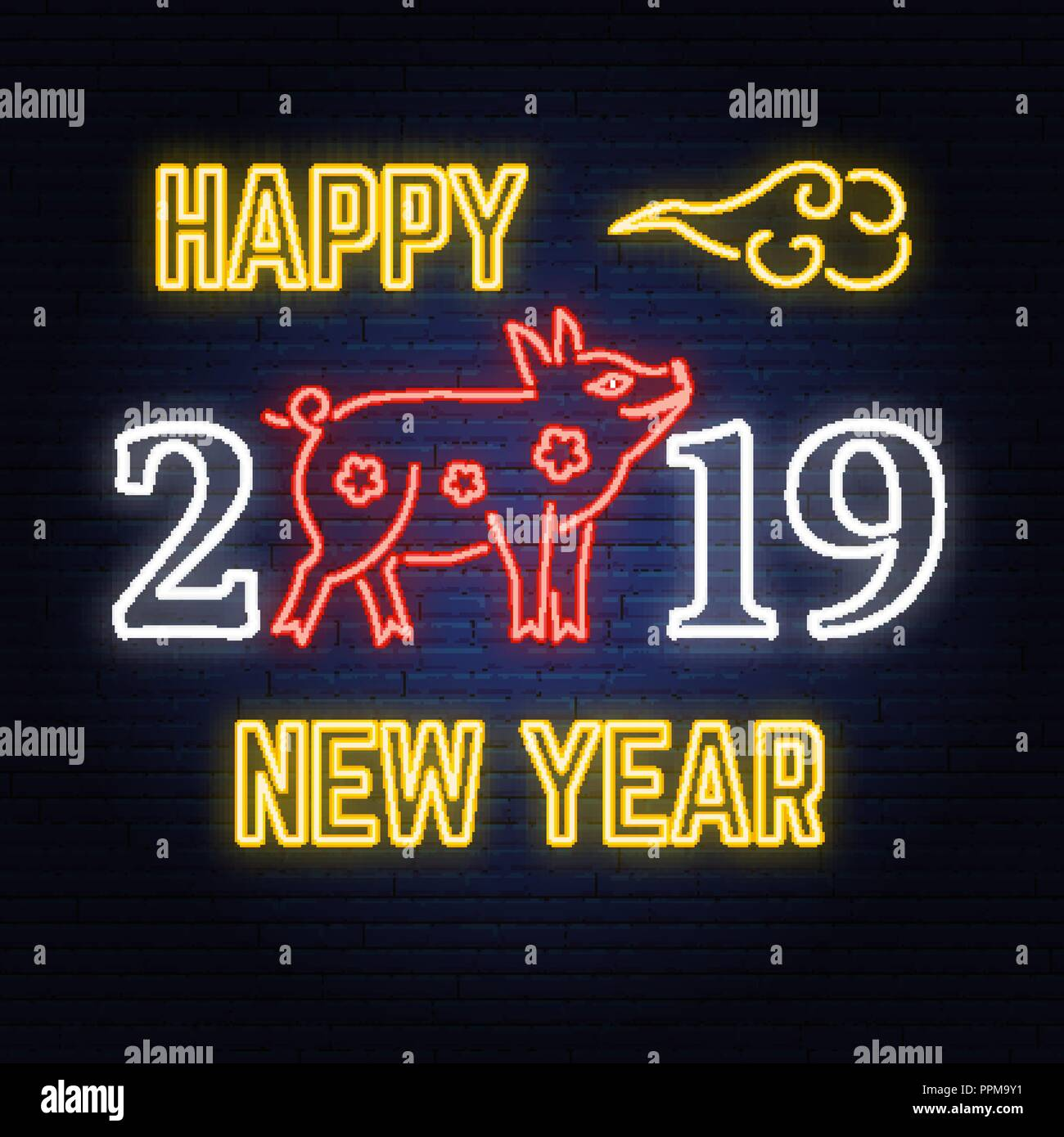 happy chinese new year 2019 neon sign with pig zodiac symbol vector