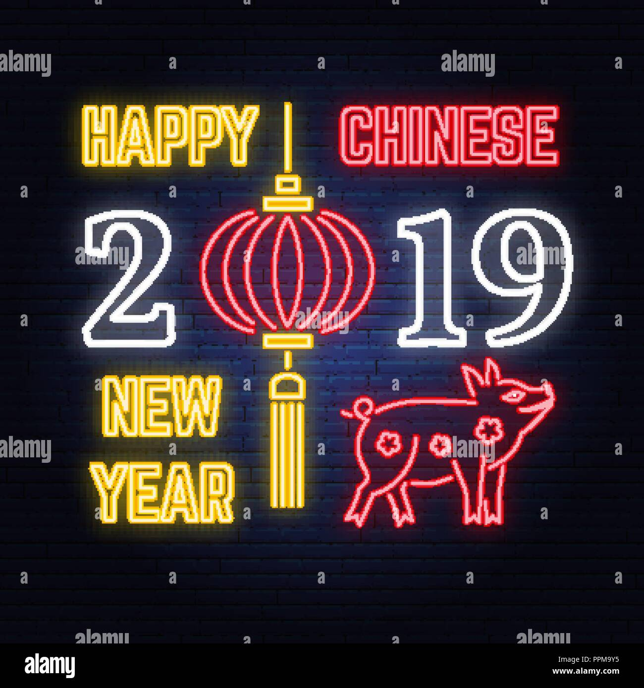 happy chinese new year 2019 neon sign with pig and chinese lanterns vector for greeting card flyer poster banner or website template