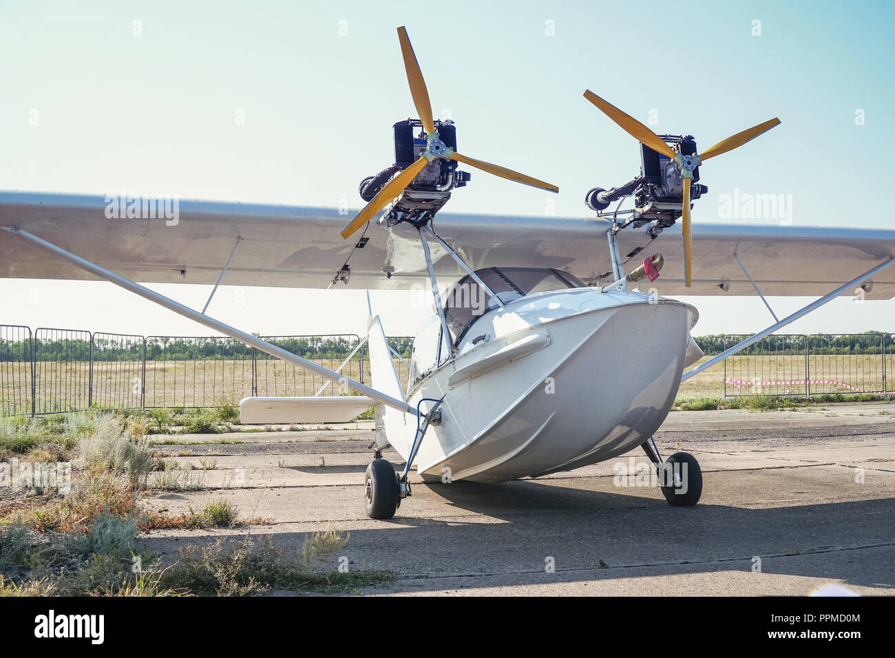 Light twin-engine amphibious aircraft at the airport - Stock Image