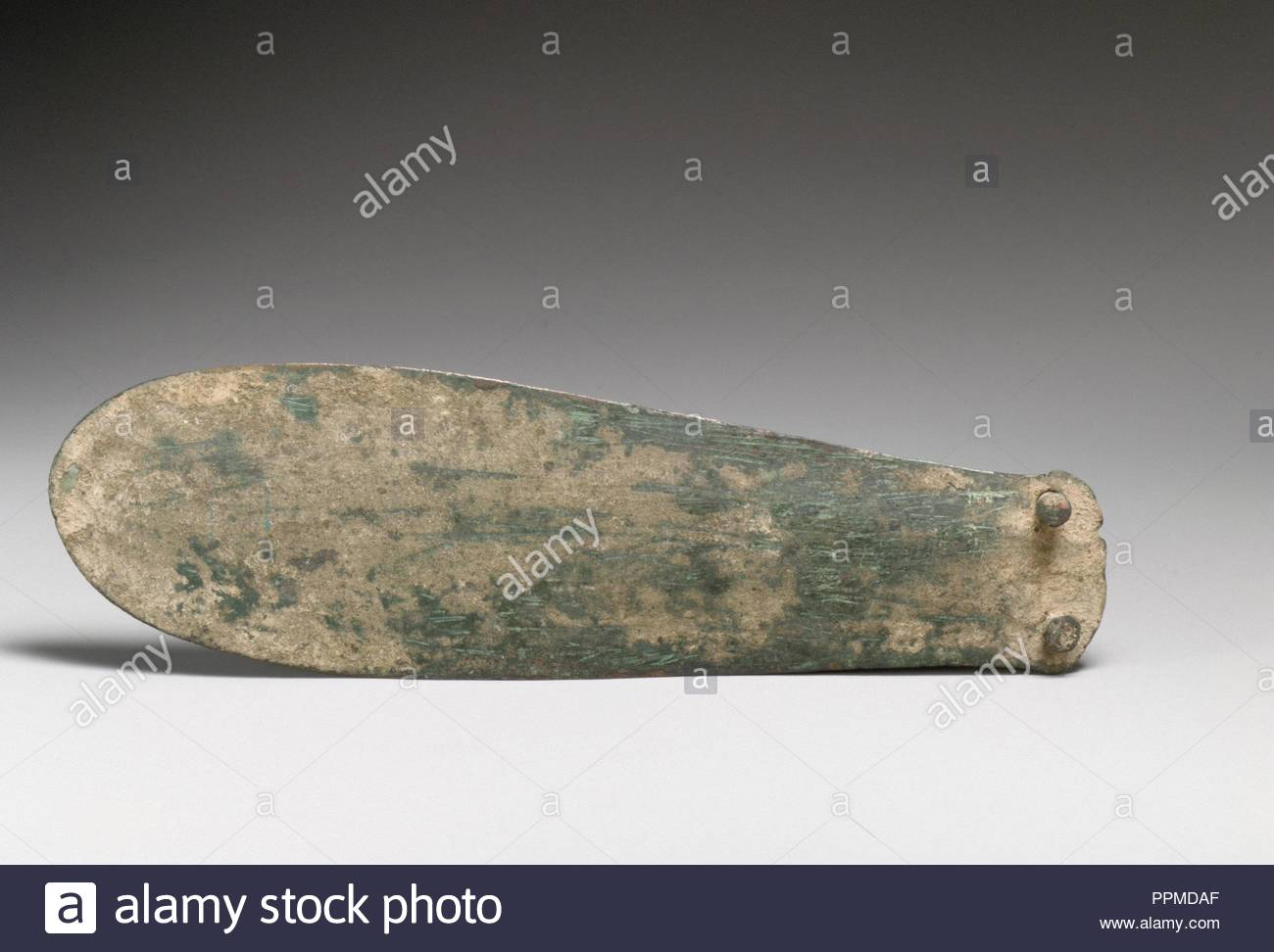 Bronze spatulate knife, Late Minoan I, ca. 1600–1450 B.C., Minoan, Bronze, L. 8 3/8 in. (21.3 cm), Bronzes, Dagger blade with two rivets. - Stock Image