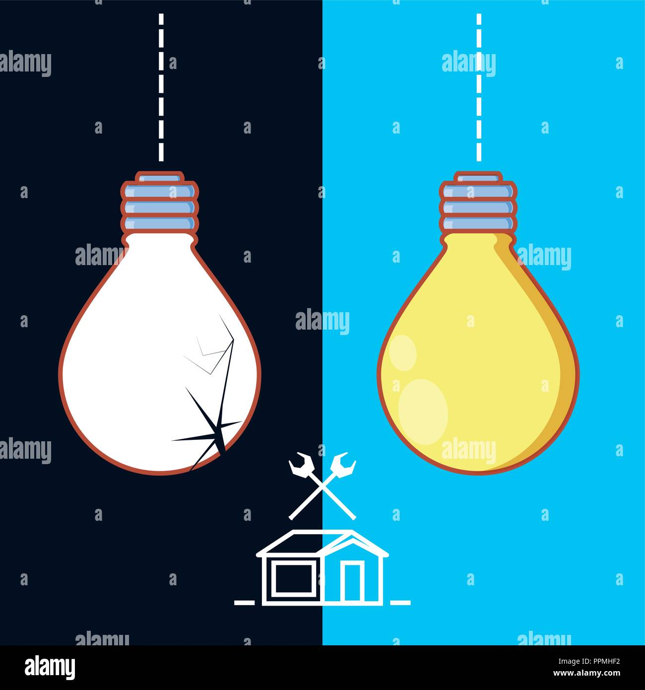 Broken Items Stock Photos Images Alamy Ppm Wiring Diagram For Vector Bulb With Home Repair Icons Illustration Design Image