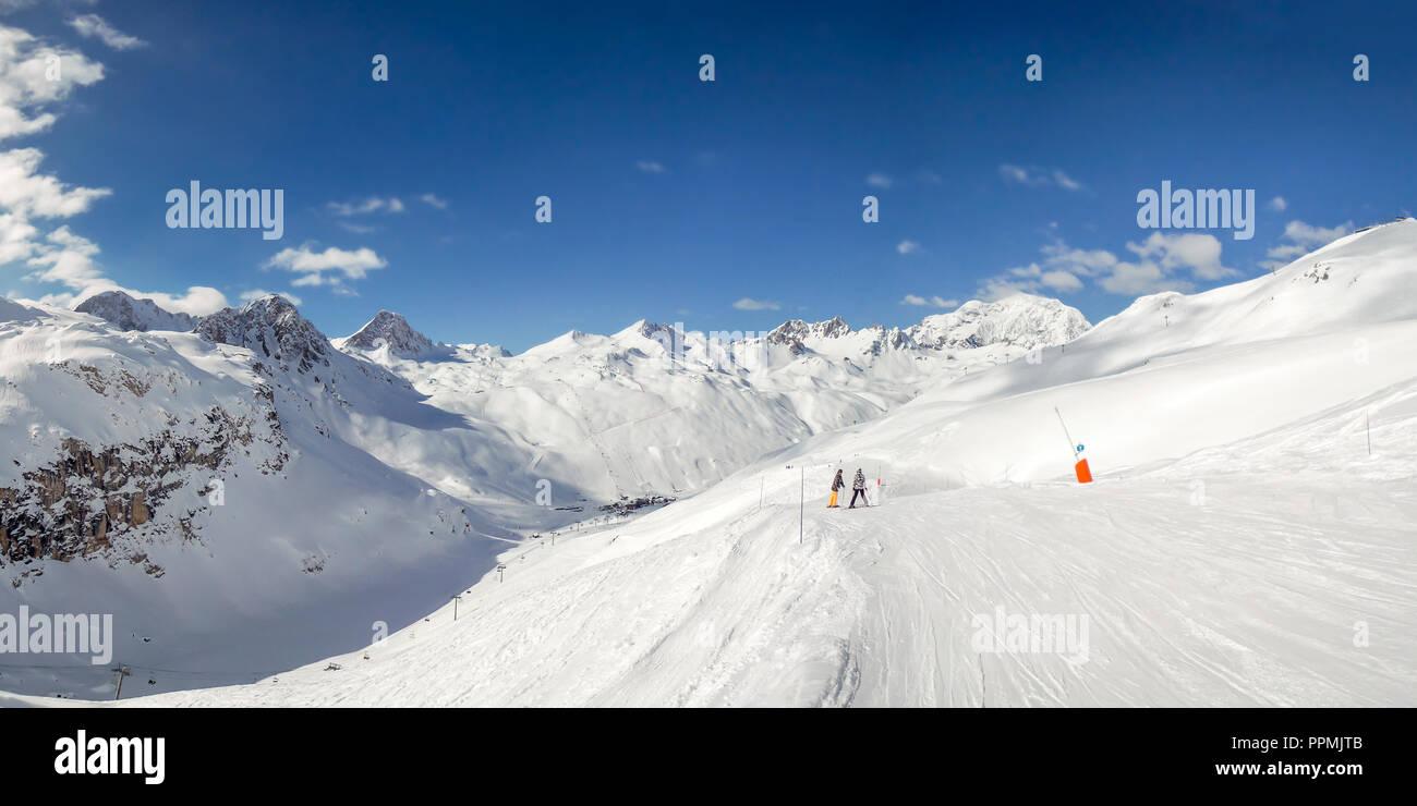 Panorama of ski slopes at Tignes, ski resort in the Alps, France - Stock Image