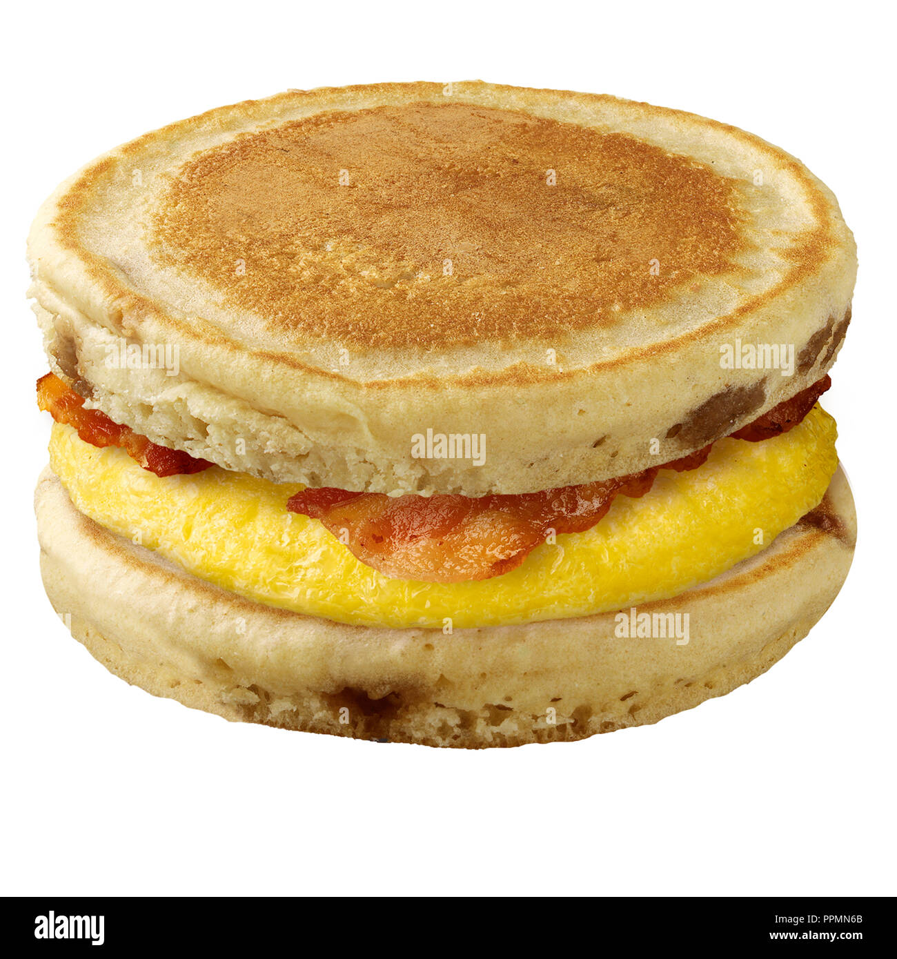 Pancake Egg And Bacon Sandwich Stock Photo 220502531 Alamy