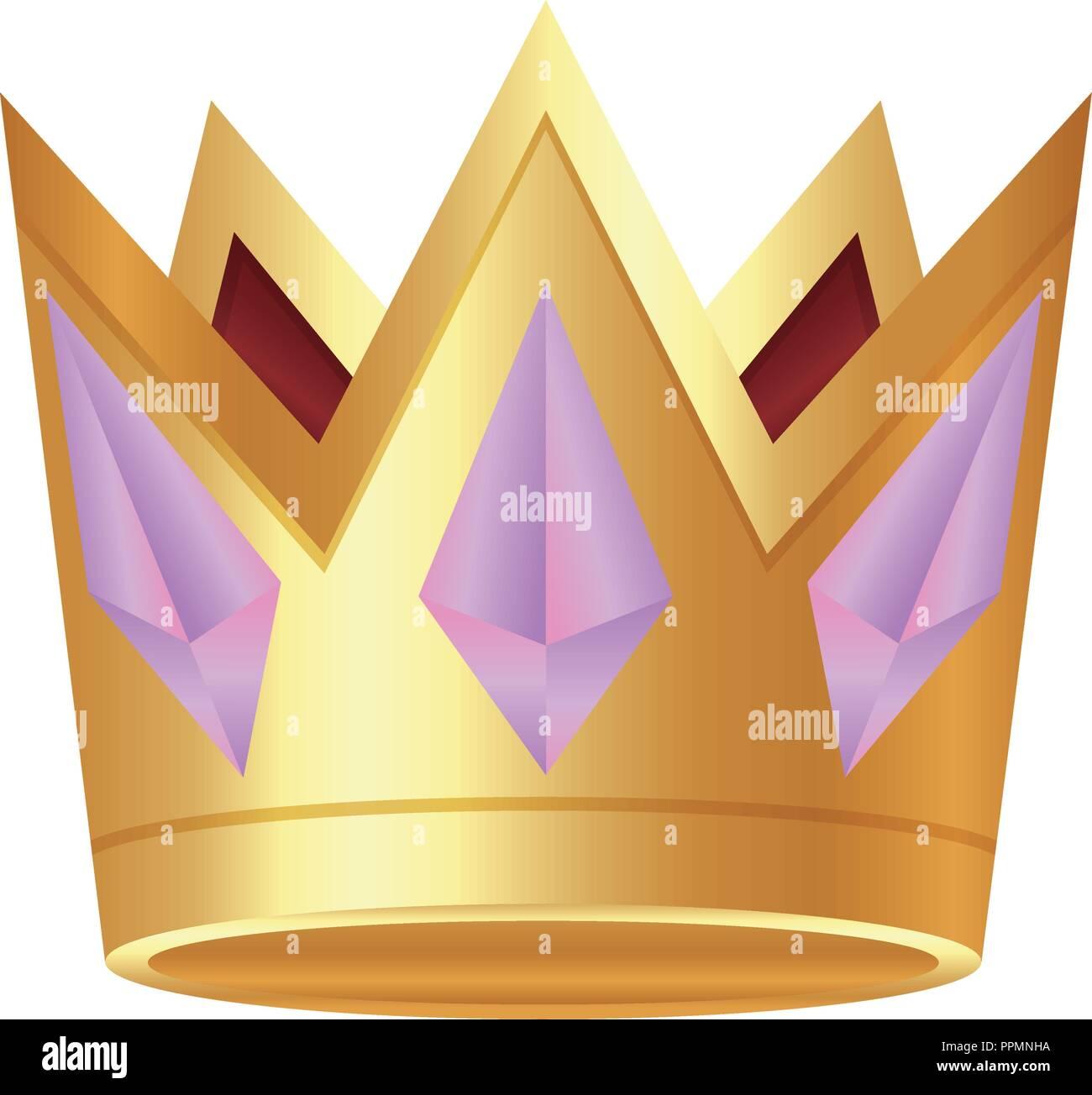 golden crown jewelry gems luxury vector illustration - Stock Vector