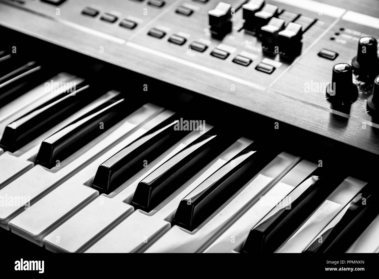Synthesizer Keyboard Piano Keys - Stock Image