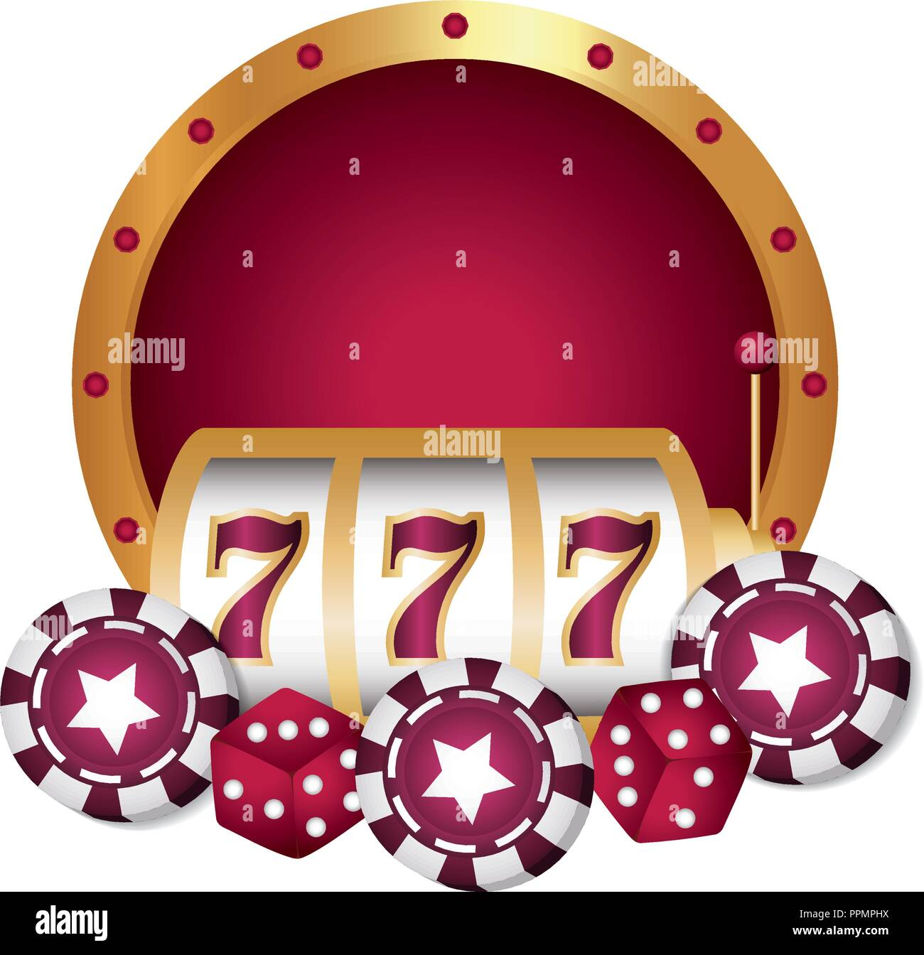 casino poker jackpot chips dices luck vector illustration Stock Vector