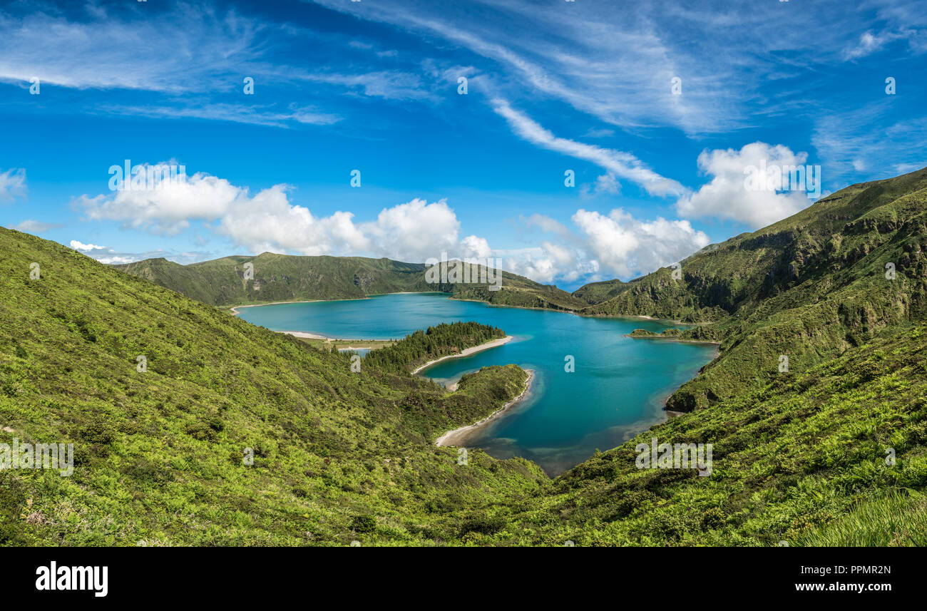Panoramic view of Fogo lake in Sao Miguel Island, Azores, Portugal - Stock Image