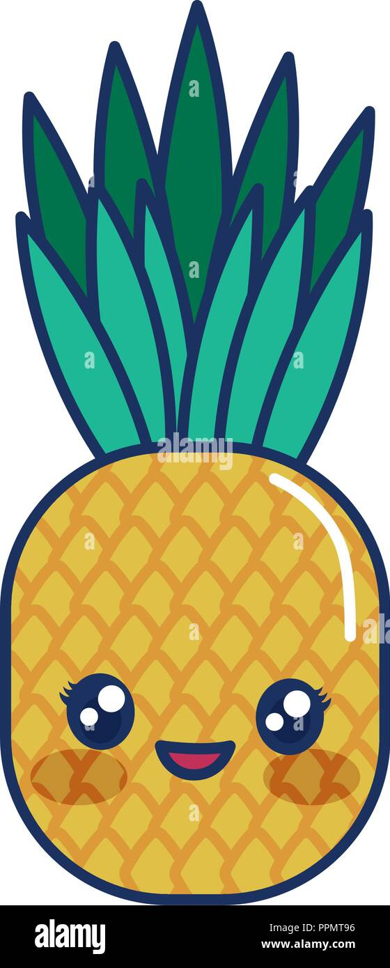 Kawaii Pineapple Icon Over White Background Vector