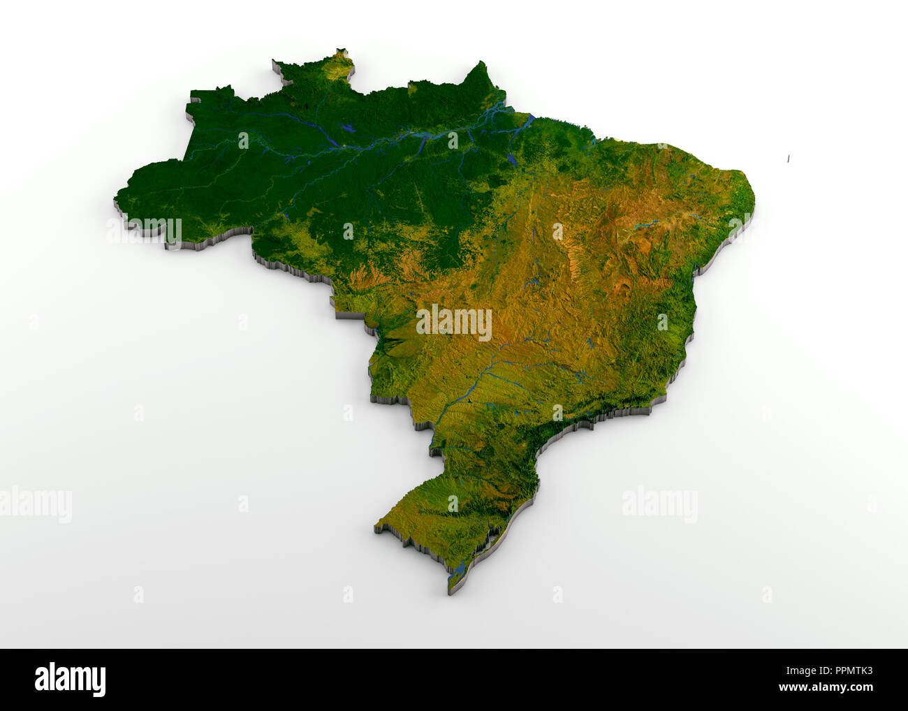 Brazil 3d Physical Map With Relief Stock Photo 220505239 Alamy