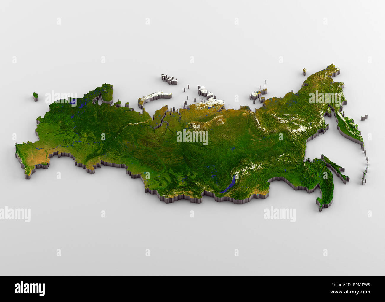 Russia 3D Physical Map with Relief Stock Photo