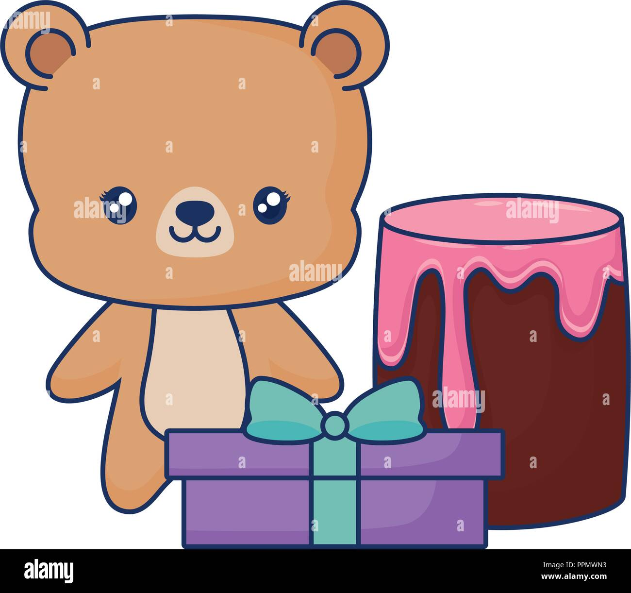 cute bear animal baby with gift box and cake  vector illustration Stock Vector