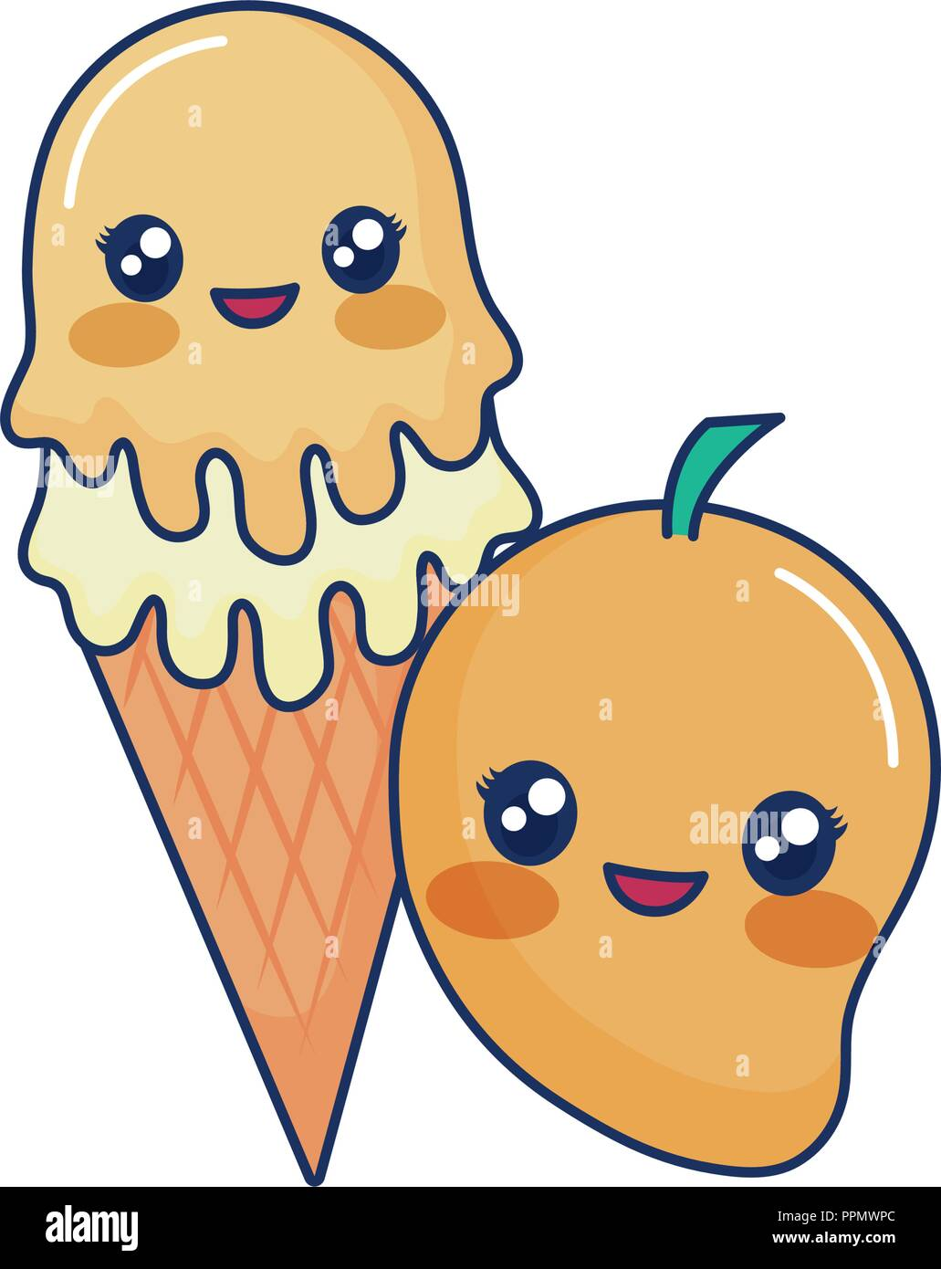 cute ice cream flavors and tropical mango  vector illustration Stock Vector