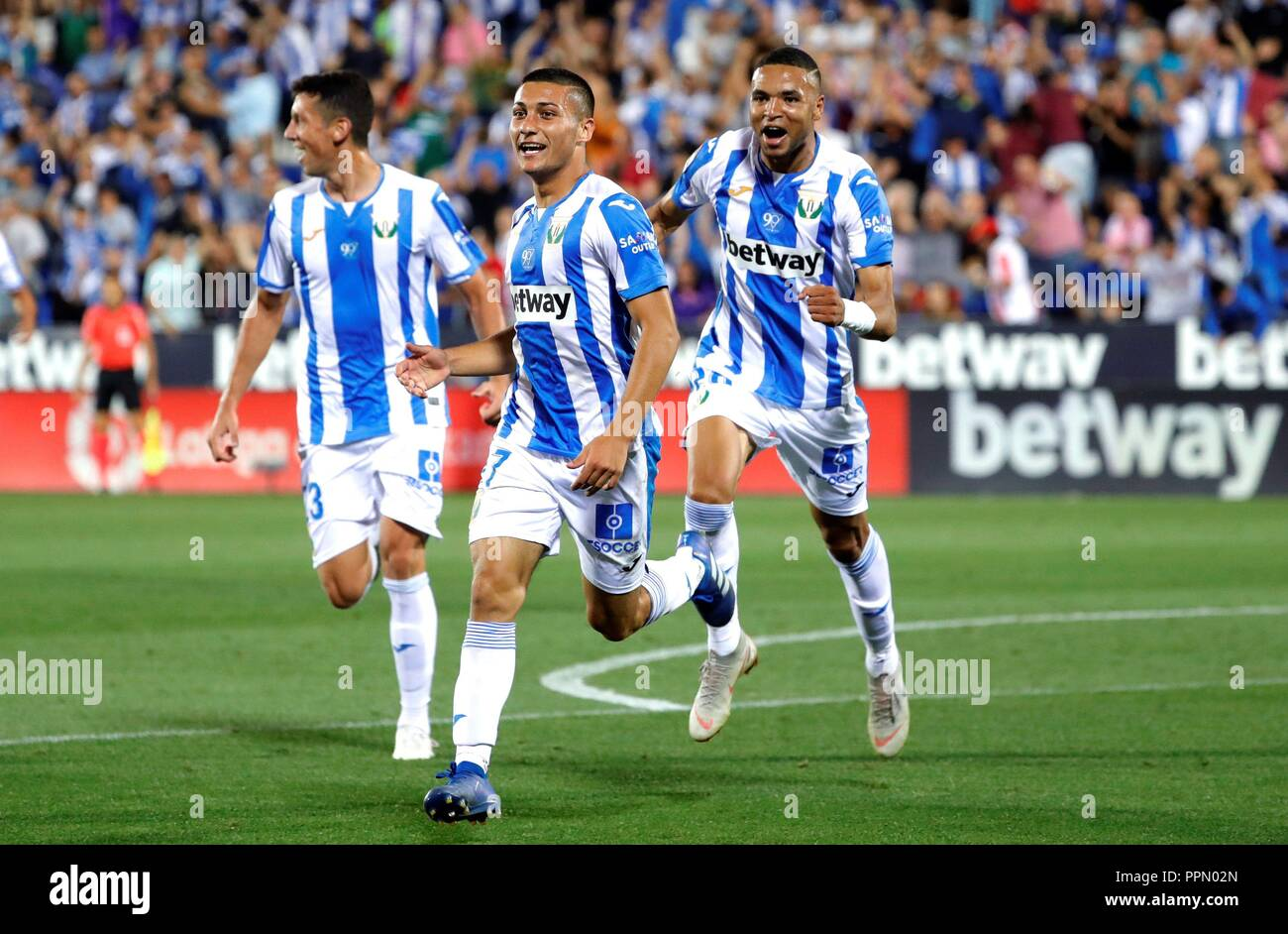 Leganes' Oscar Rodriguez (C) jubilates the second goal of the team ...
