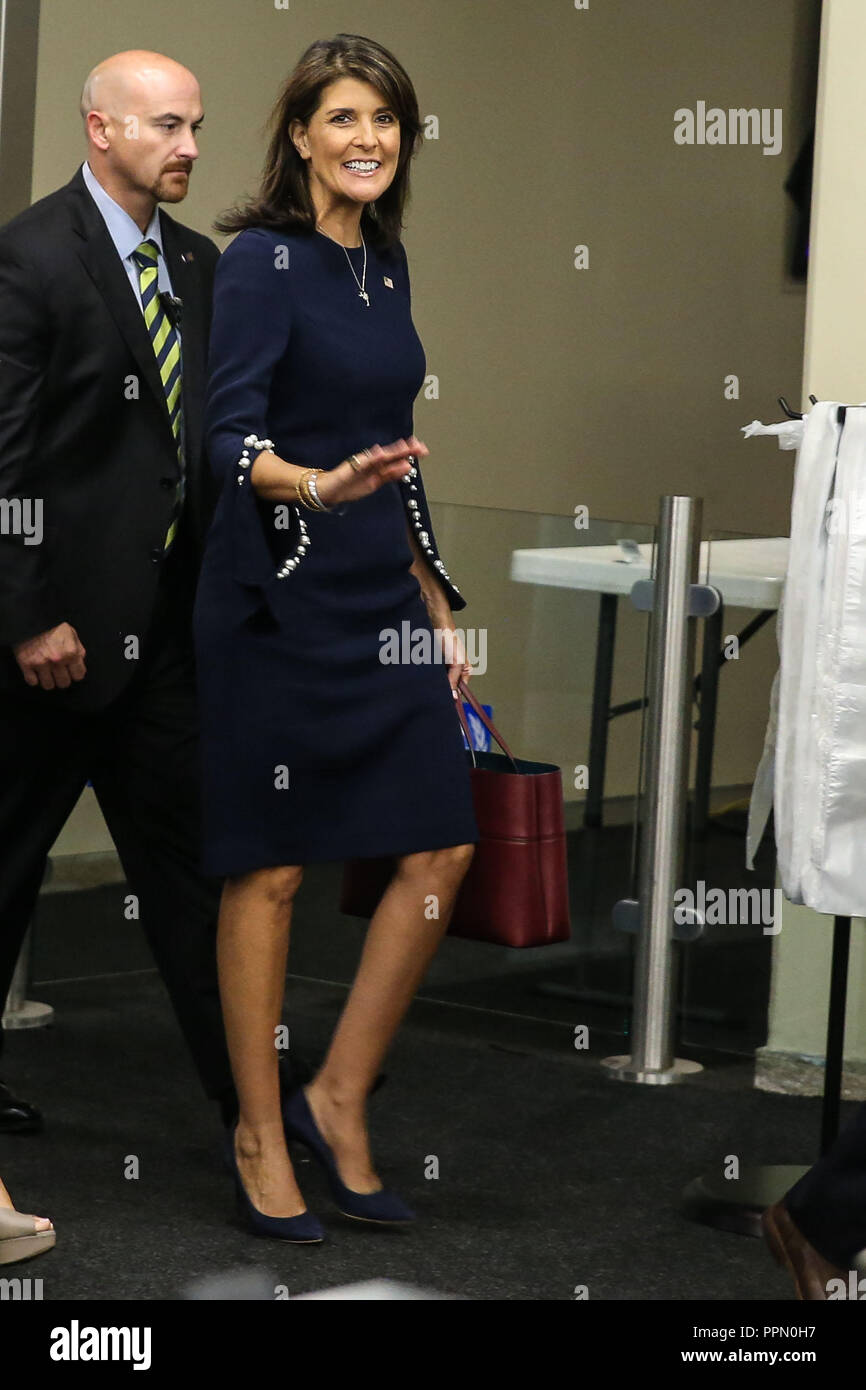 New York, New York, USA. 26th Sep, 2018. Nikki Haley Ambassador to the United Nations at the United Nations is seen arriving at the United Nations headquarters in New York for on-site meets bi-lateral meetings and agendas. Credit: William Volcov/ZUMA Wire/Alamy Live News - Stock Image