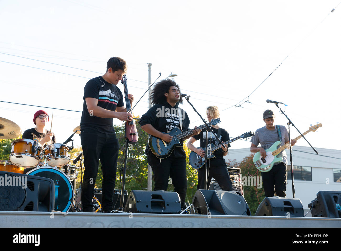 Seattle, Washington, USA. 25th Sep 2018. Gypsy Temple performs at the Washington State Labor Council during of National Voter Registration Day. The alternative rock band launched the Make Your Voice Heard Loud tour to spur voter registration and turnout. National Voter Registration Day is held annually to ensure that everyone eligible has the opportunity to vote. Upwards of 10,000 volunteers were mobilized in 2016 registering over 750,000 voters across all 50 states. Credit: Paul Christian Gordon/Alamy Live News - Stock Image