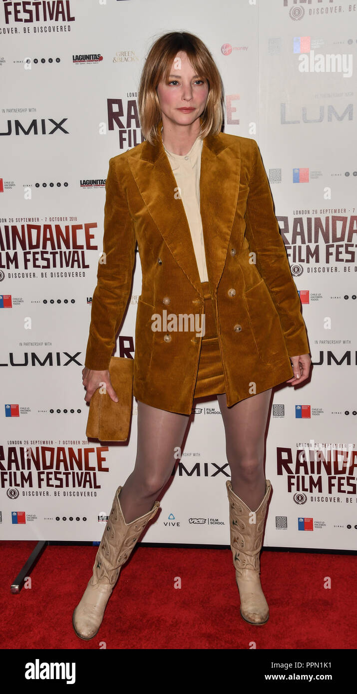 London, UK. 26th September, 2018. Sienna Guillory attends the Raindance Opening Gala 2018 held at Vue West End, Leicester Square on September 26, 2018 in London, England. Credit: Picture Capital/Alamy Live News Stock Photo
