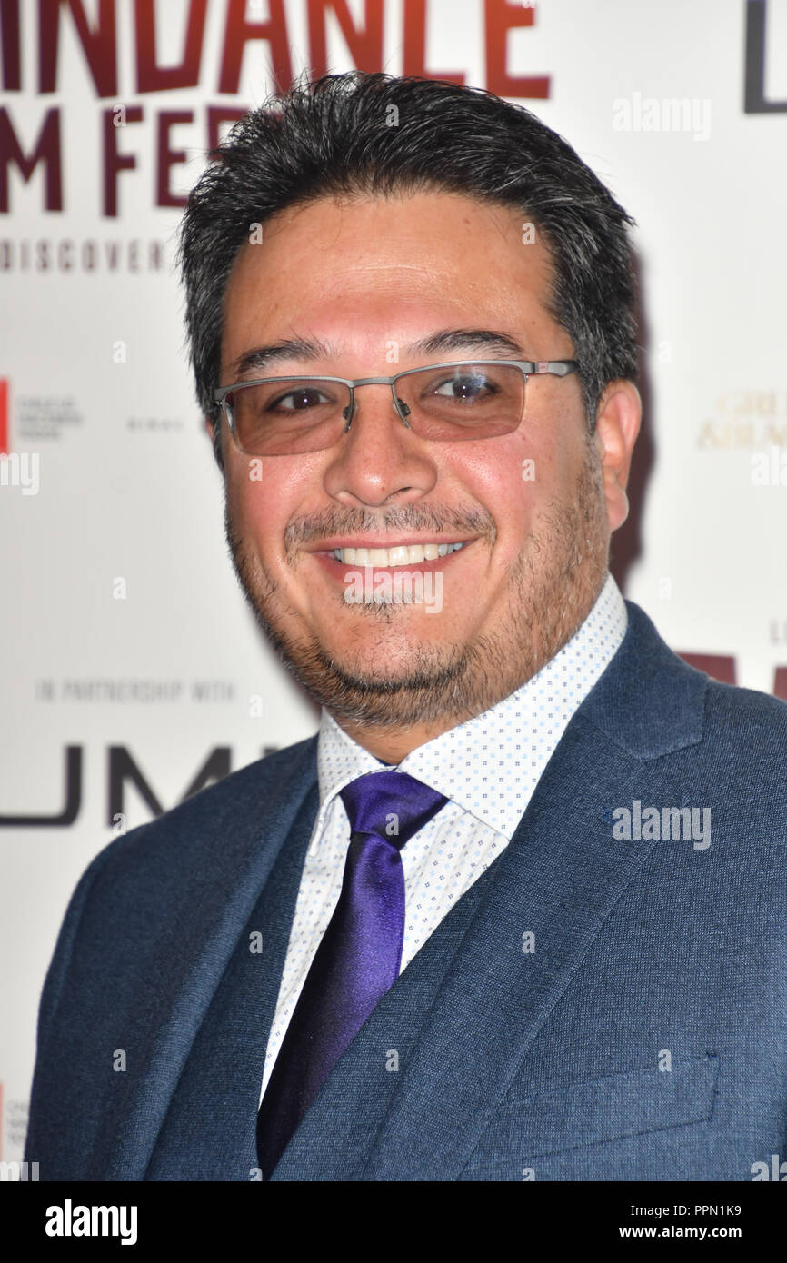 London, UK. 26th September, 2018. Vincent Salas attends the Raindance Opening Gala 2018 held at Vue West End, Leicester Square on September 26, 2018 in London, England. Credit: Picture Capital/Alamy Live News Stock Photo