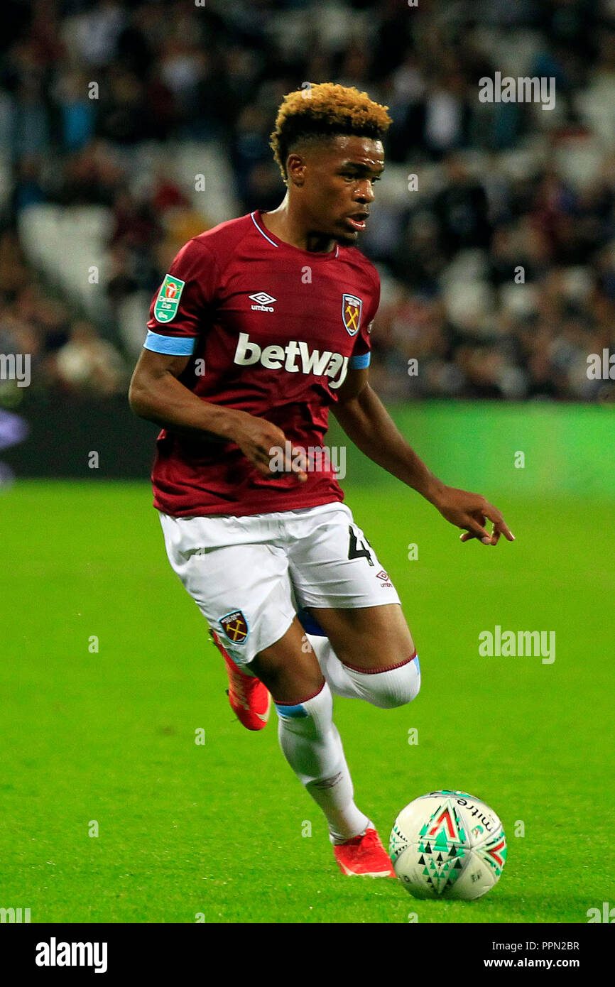 London, UK. 26th September 2018. Grady Diangana of West Ham United in action. EFL cup, Carabao cup 3rd round match, West Ham United v Macclesfield Town at the London Stadium, Queen Elizabeth Olympic Park in London on Wednesday 26th September 2018.  this image may only be used for Editorial purposes. Editorial use only, license required for commercial use. No use in betting, games or a single club/league/player publications . pic by Steffan Bowen/Andrew Orchard sports photography/Alamy Live news Stock Photo