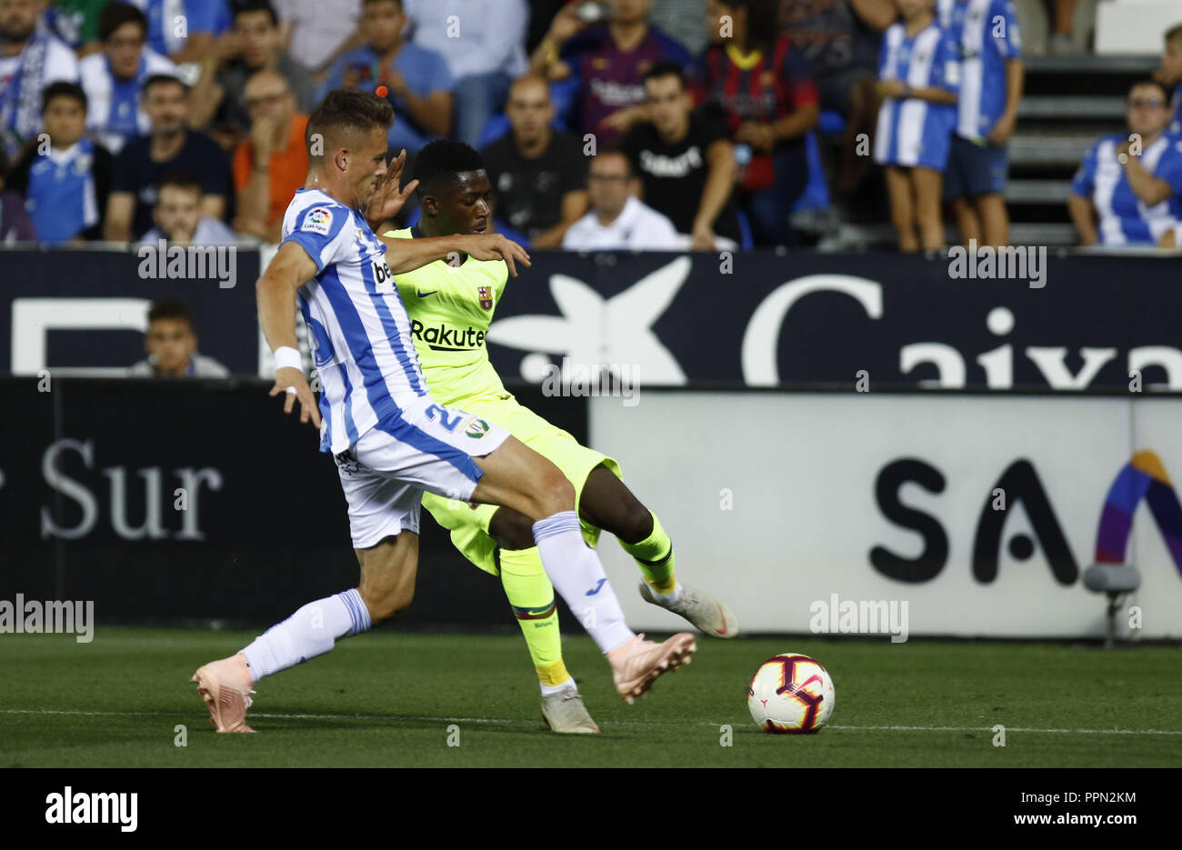 Leganes, Madrid, Spain. 26th Sep, 2018. Ousmane Dembele (FC Barcelona) in action during the game.La Liga match between CD Leganes and FC Barcelona at Butarque Stadium. Credit: Manu Reino/SOPA Images/ZUMA Wire/Alamy Live News - Stock Image