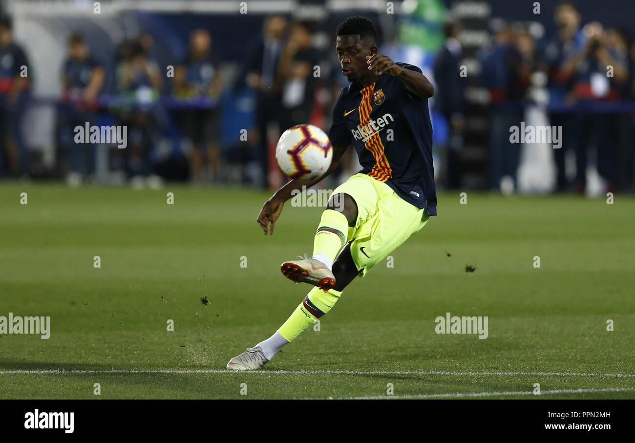 Leganes, Madrid, Spain. 26th Sep, 2018. Ousmane Dembele (FC Barcelona) seen warming up before the game.La Liga match between CD Leganes and FC Barcelona at Butarque Stadium. Credit: Manu Reino/SOPA Images/ZUMA Wire/Alamy Live News - Stock Image