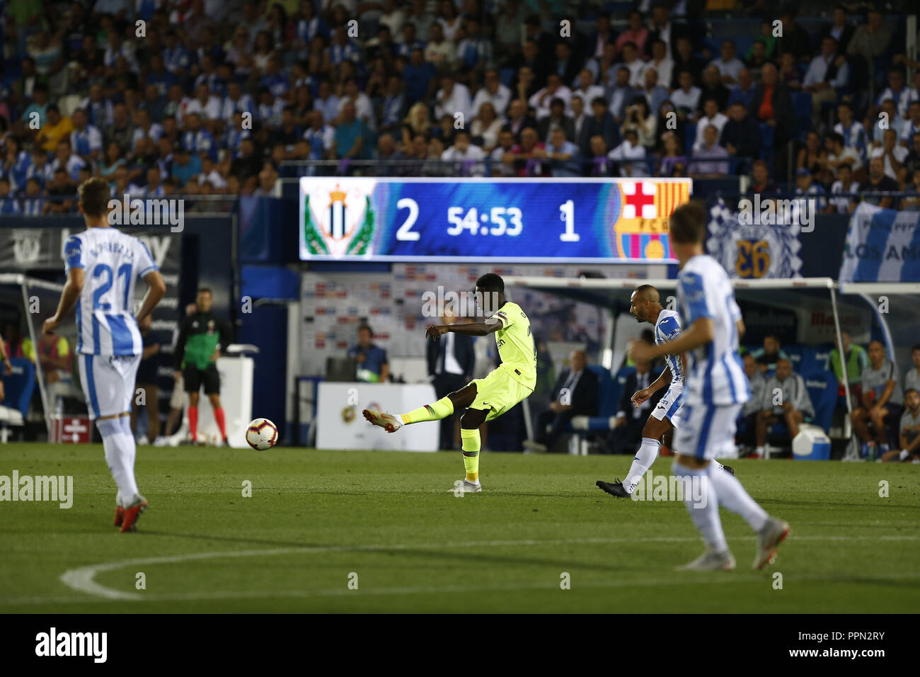Leganes, Madrid, Spain. 26th Sep, 2018. Ousmane Dembele (FC Barcelona) seen in action during the game.La Liga match between CD Leganes and FC Barcelona at Butarque Stadium. Credit: Manu Reino/SOPA Images/ZUMA Wire/Alamy Live News - Stock Image