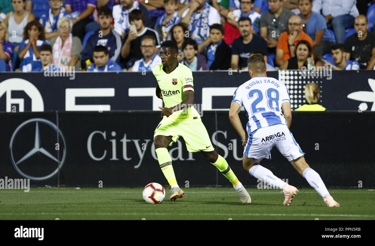 Leganes, Madrid, Spain. 26th Sep, 2018. Ousmane Dembele (FC Barcelona) during the La Liga match between CD Leganes and FC Barcelona at Butarque Stadium in Leganes, Spain. Credit: Manu Reino/SOPA Images/ZUMA Wire/Alamy Live News - Stock Image