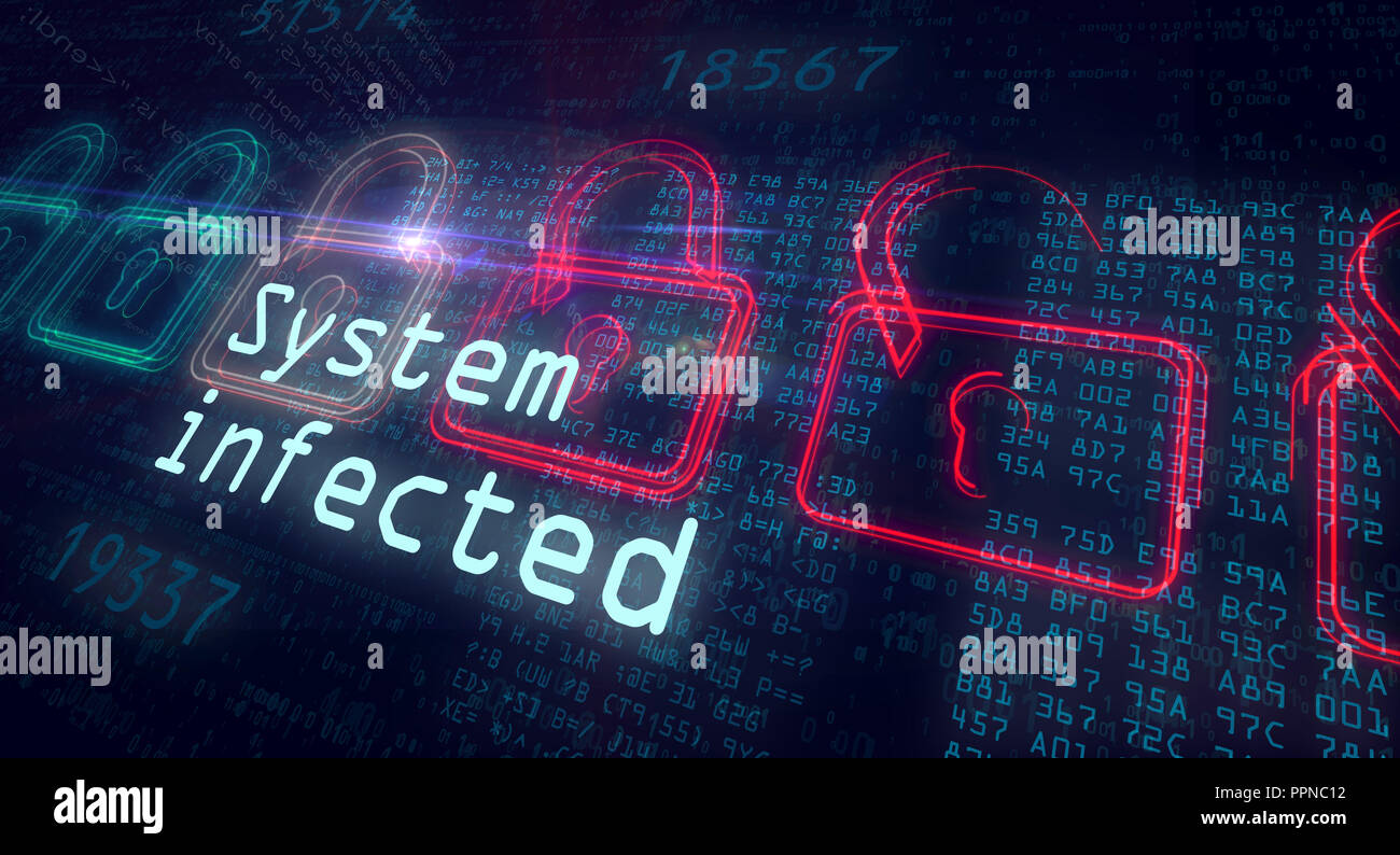 System infected and cyber security concept. Red and green padlocks on binary background. - Stock Image