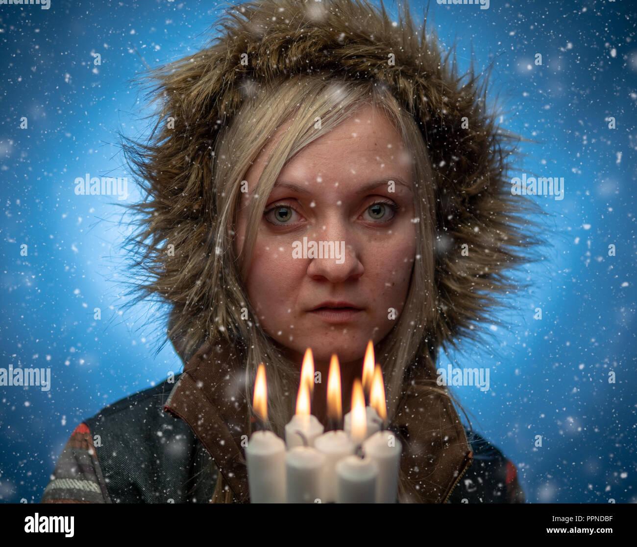 Naturally beautiful millennial woman in winter clothes, ciri