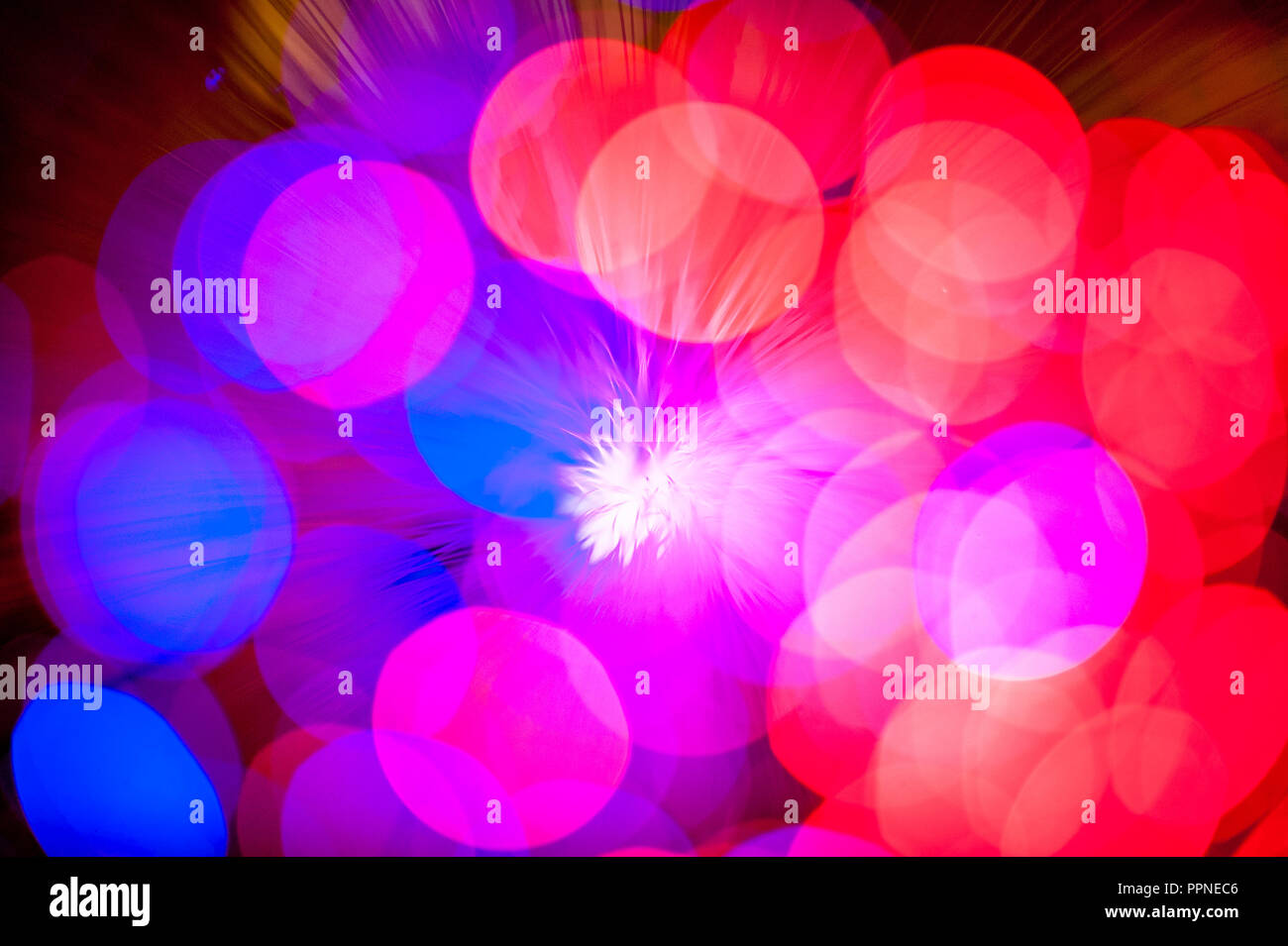 colourful lights resembling fireworks - Stock Image