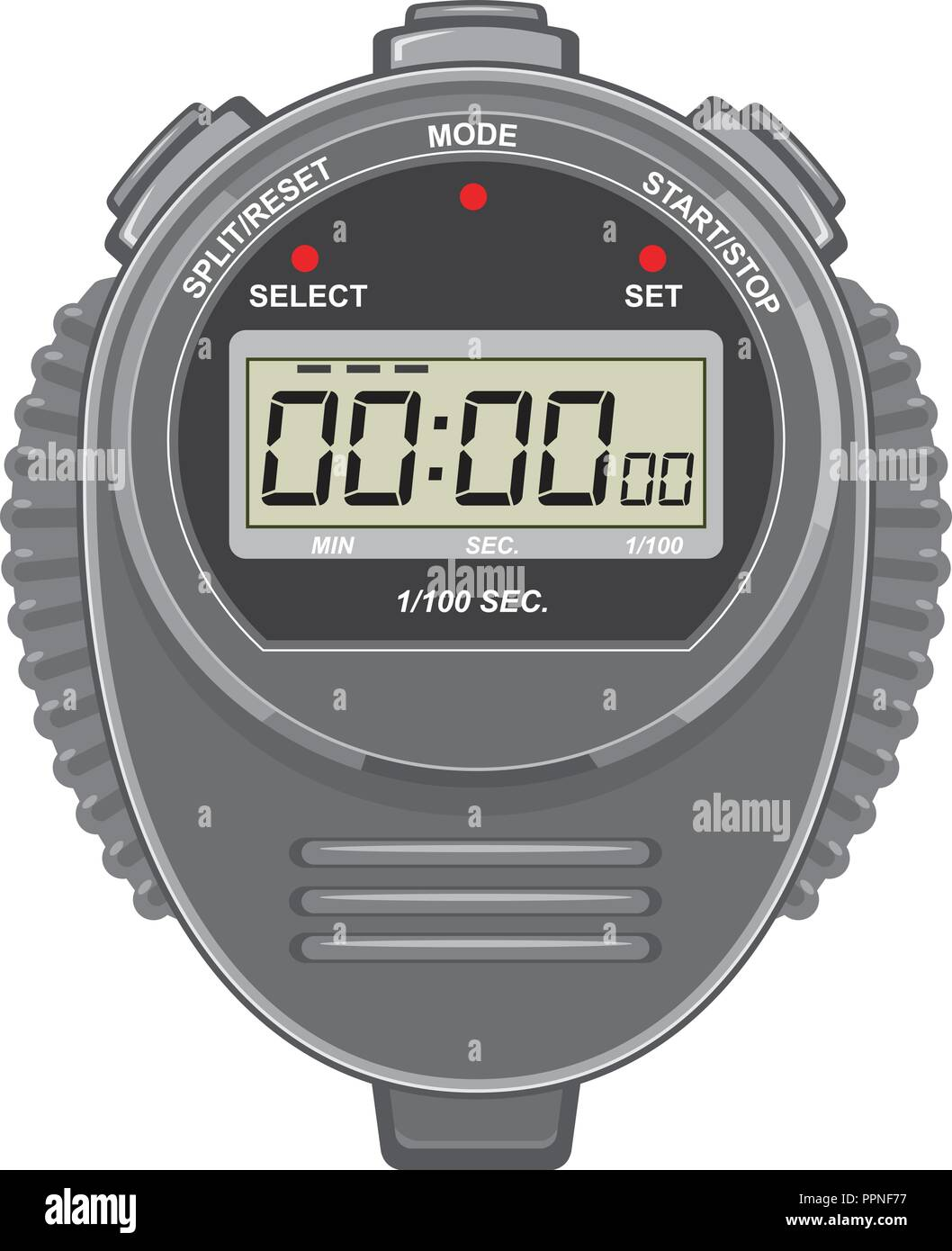 Retro style illustration of a digital stopwatch or timer and