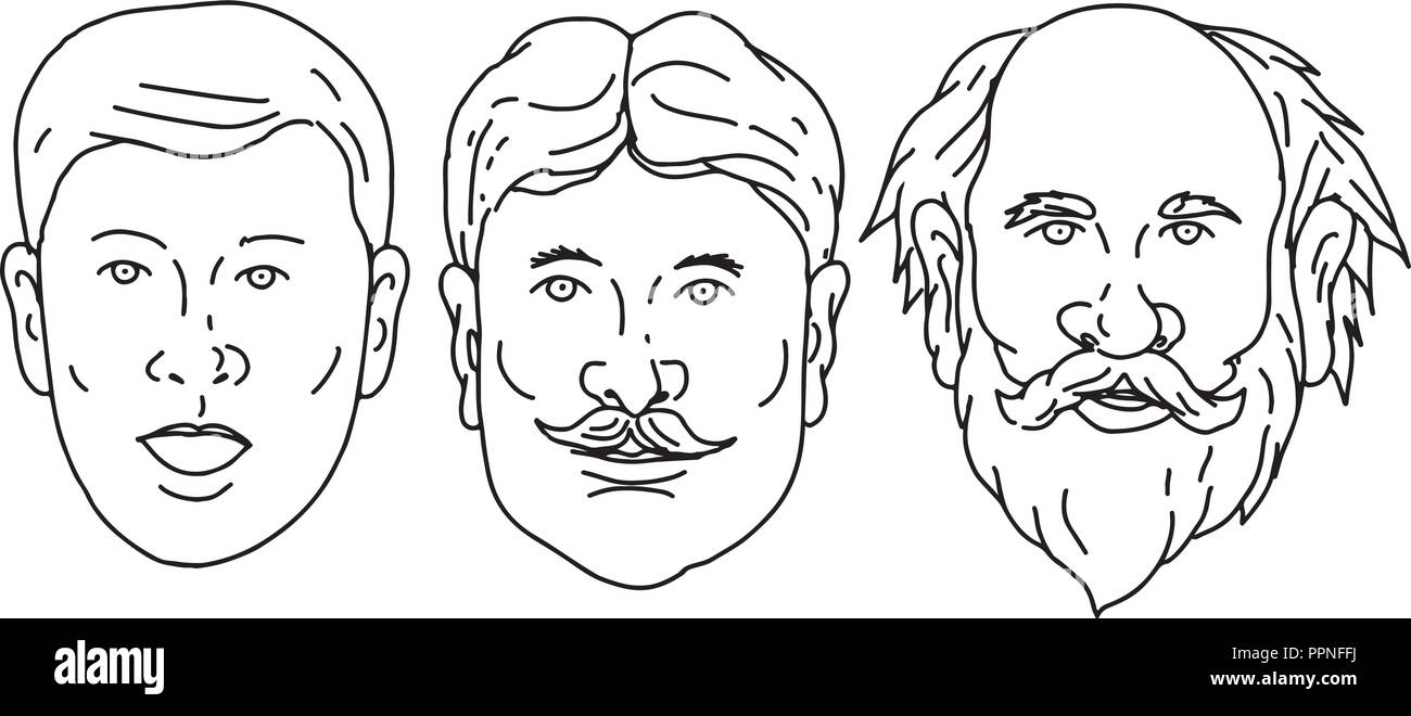 4d6671c6e Drawing sketch style illustration of head of a Caucasian male ...