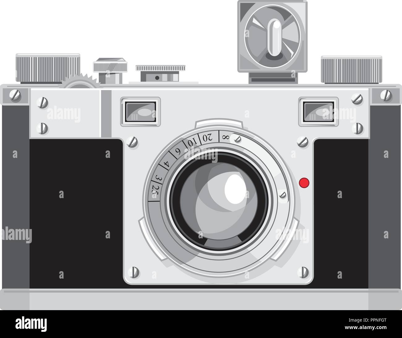 Retro style illustration of a vintage 35mm film camera with a cube flash viewed from front on isolated background. - Stock Vector
