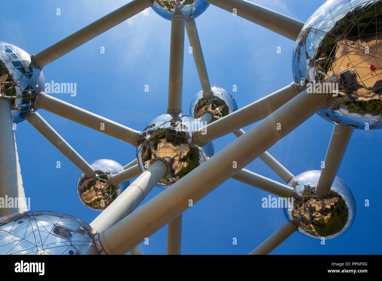 The Atomium, a landmark building in Brussels, Belgium originally constructed for the 1958 Brussels World's Fair. - Stock Image