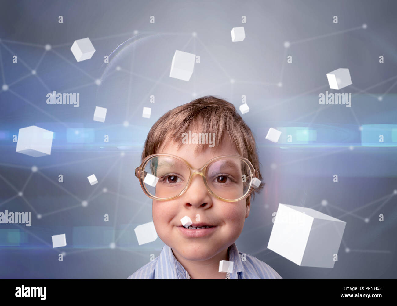 Little boy with luminous cubes around and 3D concept - Stock Image