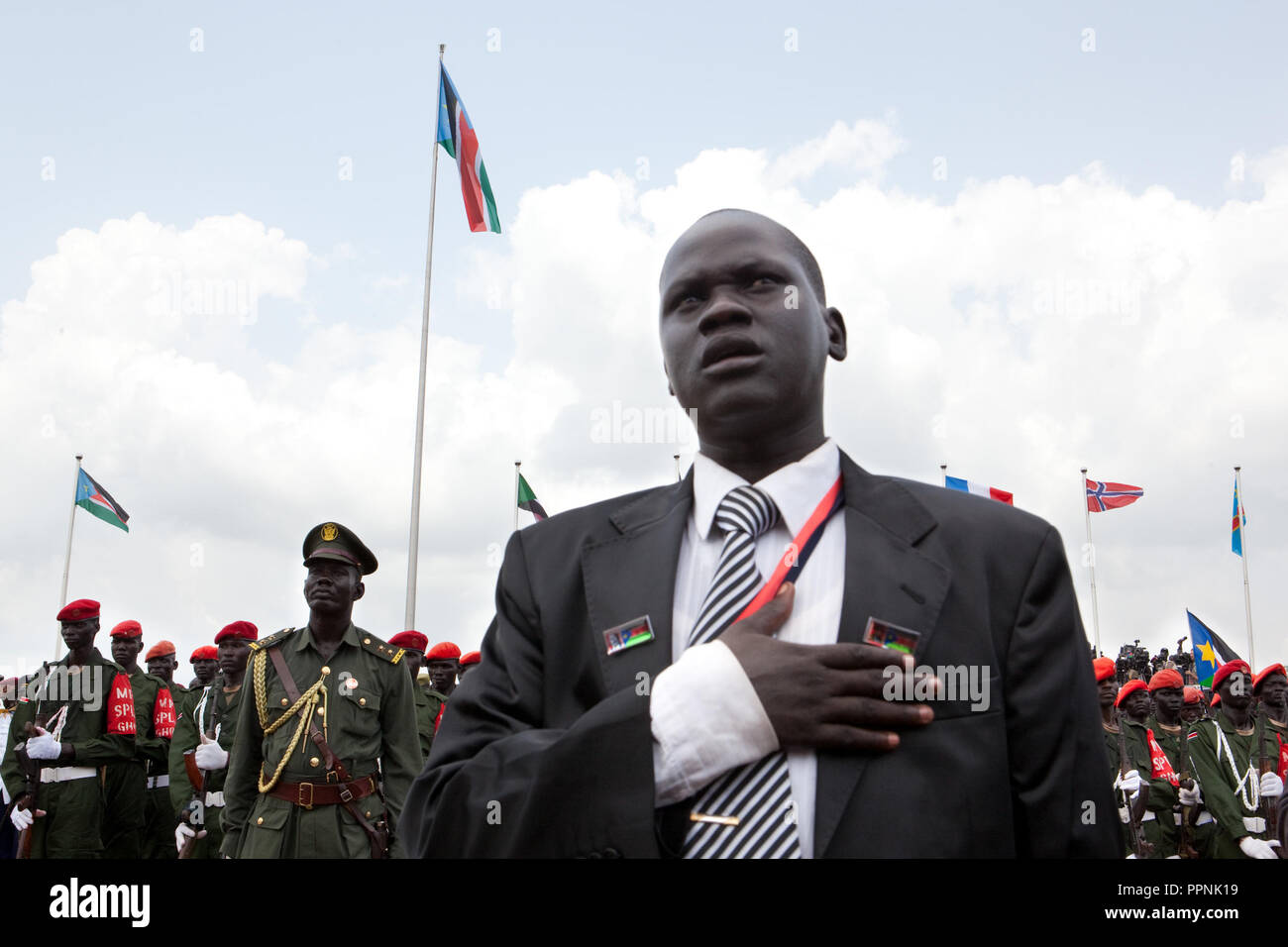 Saturday 9 july 2011 – Juba, Republic of South Sudan – South Sudan raised the flag of its new nation for the first time.Tens of thousands of citizens of the new South Sudan celebrate national independence but whether statehood will resolve issues of identity after a decades-long war remains to be seen. Photo credit: Benedicte Desrus - Stock Image