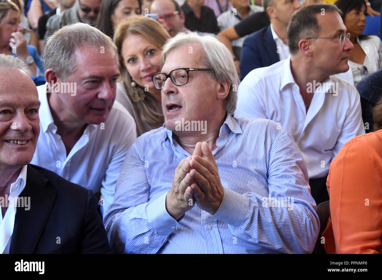 "Rome Italy 23 September 2018 - Isola Tiberina - Atreju18 "" EUROPA CONTRO EUROPA "" 21° edizione Vittorio Sgarbi and Adolfo Urso Credit: Giuseppe Andide Stock Photo"