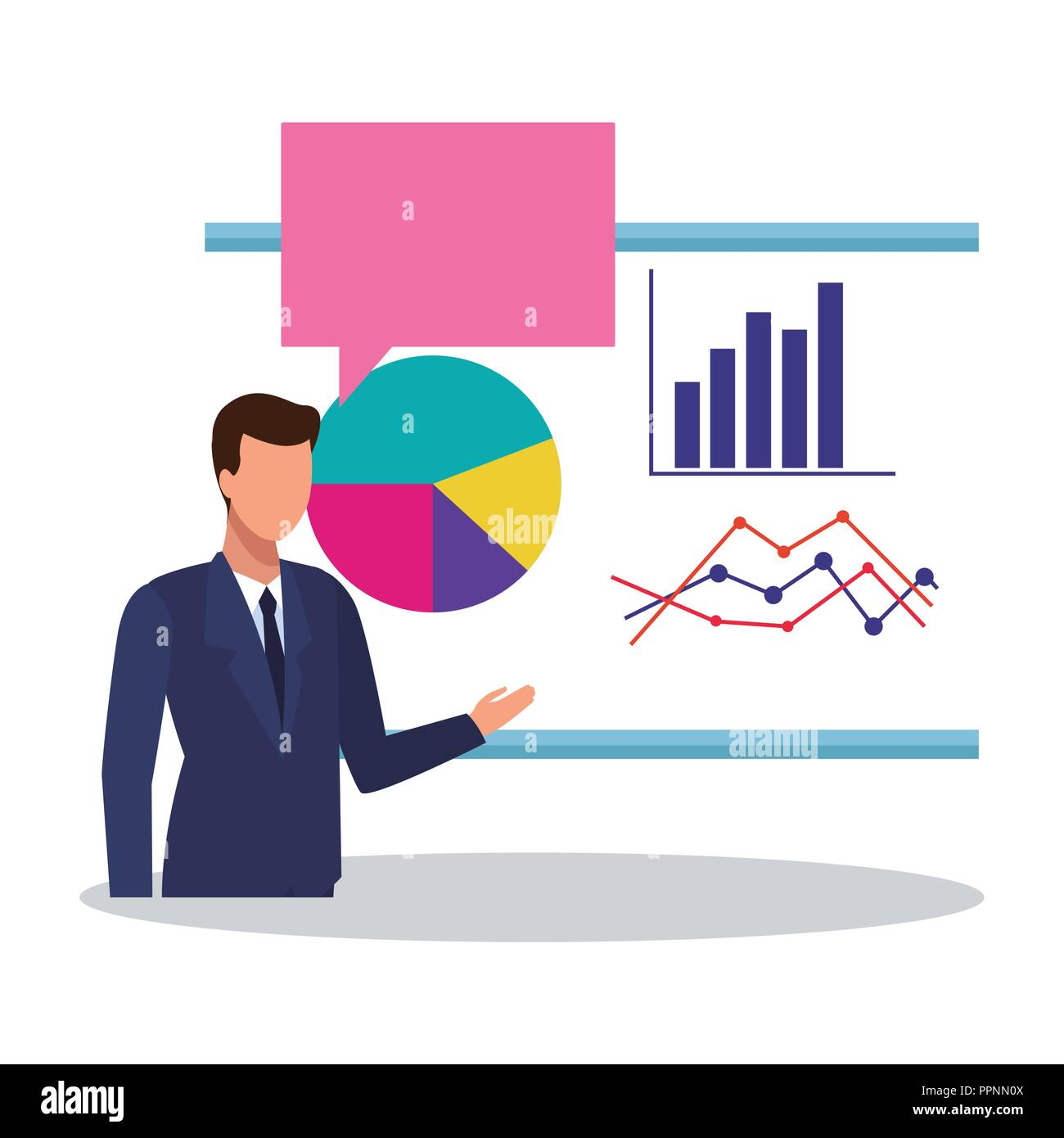 Businessman and statistics - Stock Image