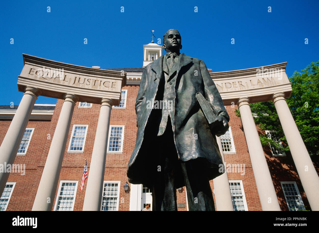 Thurgood Marshall Memorial Statue to the first African-American Supreme Court Justice, Annapolis, MD - Stock Image