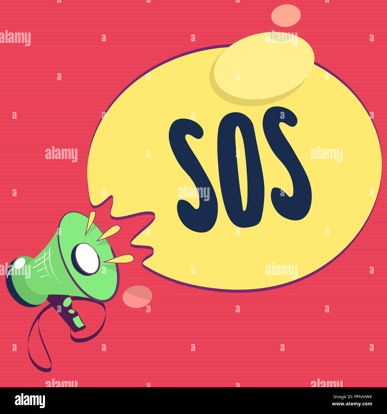 Text sign showing Sos. Conceptual photo Urgent appeal for help International code signal of extreme distress. - Stock Image