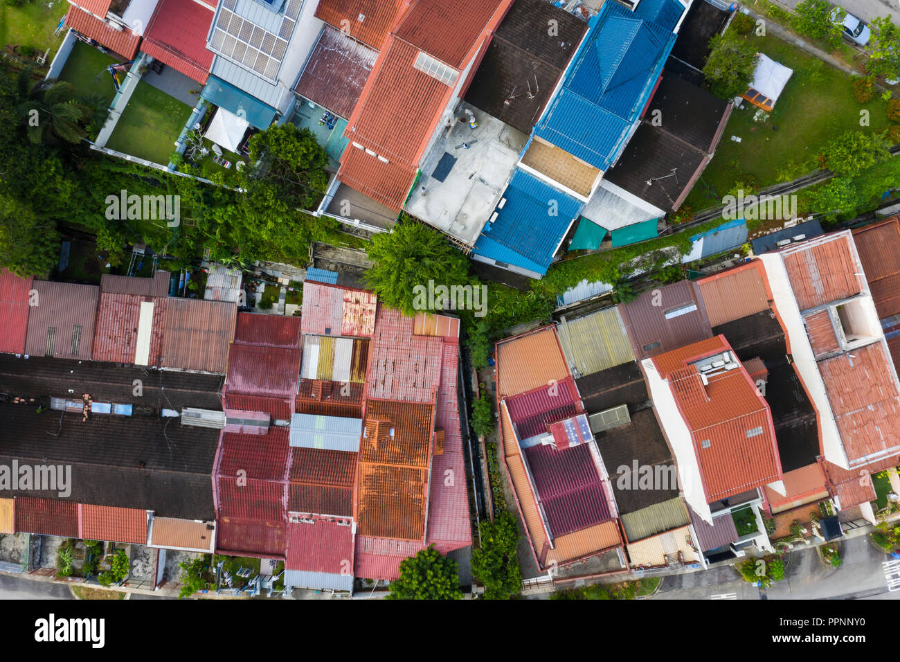 Aerial view of residential private property rooftop, Hillview Singapore. - Stock Image