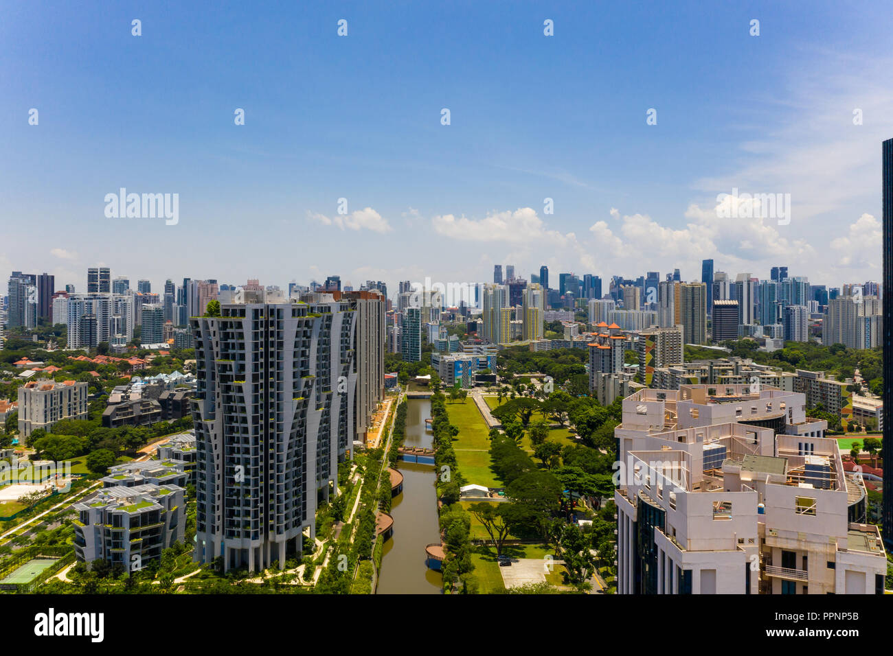 An aerial view of Alexandra Canal linear park. Active, Beautiful and Clean (ABC) Water Programme undertaken by the Public Utilities Board of Singapore - Stock Image
